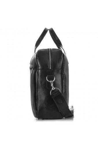 Skórzana męska torba na ramię brodrene r03xl czarna