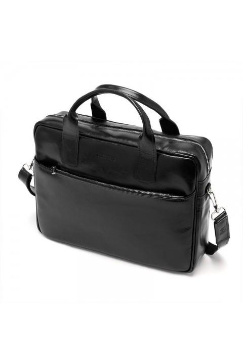 Skórzana torba na ramię teczka brodrene R02 ciemny brąz
