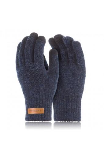 Ciepłe rękawiczki zimowe do smartfonów brodrene r1 granatowa mulina