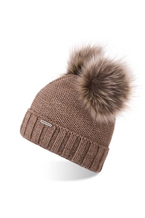 Gruba czapka zimowa damska z dwoma pomponami brodrene cz22 kawa