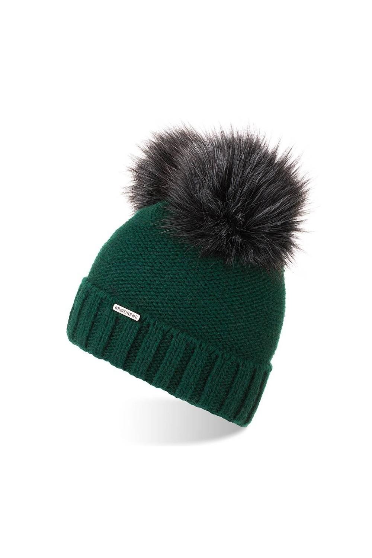 Ciepła czapka zimowa z pomponami brodrene cz22 butelkowa zieleń