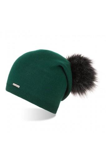 Damska czapka z pomponem smerfetka brodrene cz19 butelkowa zieleń