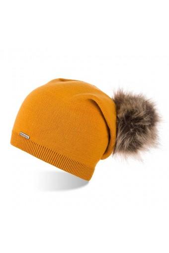 Miodowa czapka damska smerfetka czapka z pomponem brodrene cz19
