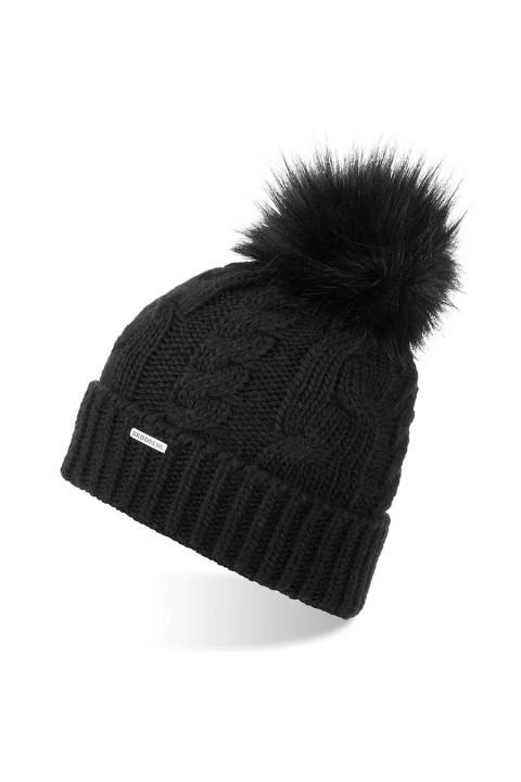 Damska czapka cz24 brodrene zimowa czarna z pomponem