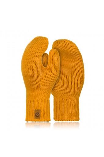 Ciepłe rękawiczki damskie zimowe brodrene r02 miodowe