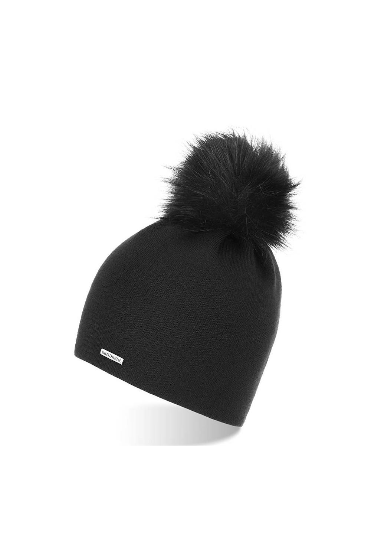 Zimowa damska czapka czarna cz18 brodrene