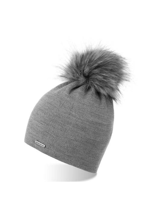 Szara modna damska czapka na zimę cz18 brodrene