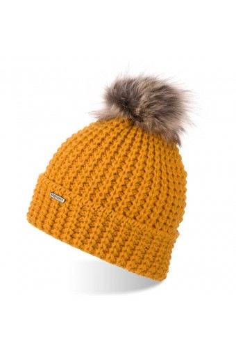 Miodowa czapka damska zimowa z pomponem brodrene cz21