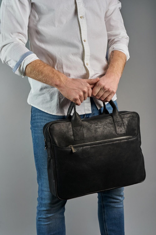 Skórzana torba na laptop brodrene b12 jasny brąz