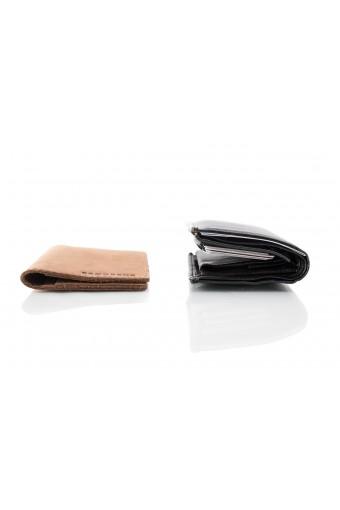 Skórzany cienki portfel slim wallet brødrene  sw03 jasny brąz