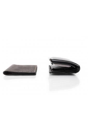 Skórzany cienki portfel slim wallet brødrene  sw03 czarny